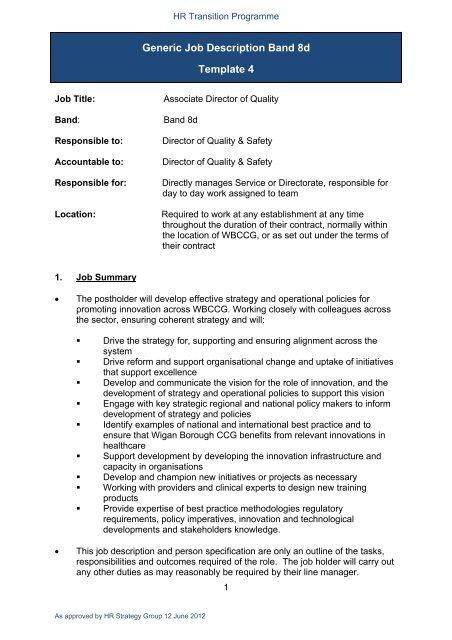 Generic Job Description Band 8d Template 4