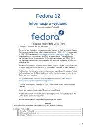 Informacje o wydaniu - Fedora Documentation - Fedora Project