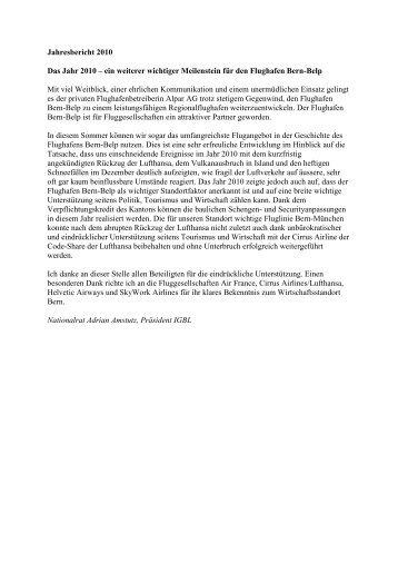 Jahresbericht 2010 Das Jahr 2010 – ein weiterer wichtiger ... - igbl.ch