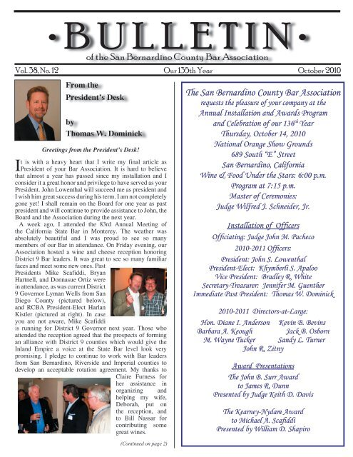 October 2010 - San Bernardino County Bar Association