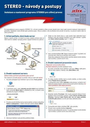 Návod pro instalaci síťové verze STEREO 18 - Ježek software