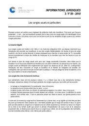 Les congés usuels et particuliers (septembre 2010)