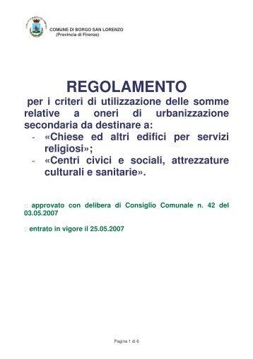 Regolamento definitivo - Comune di Borgo San Lorenzo