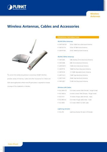 Wireless Antennas, Cables and Accessories - Planet