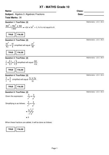 XT – MATHS Grade 10 – Algebraic Fractions