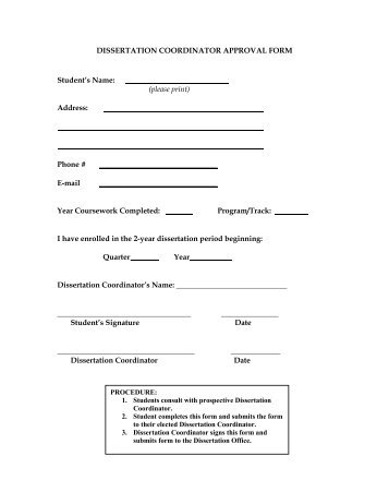 Thesis dissertation approval form
