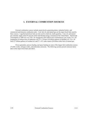 AP-42, Vol. I, CH 1: External Combustion Sources: Introduction