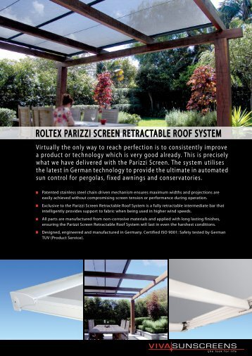 roltex parizzi screen retractable roof system - Viva Sunscreens