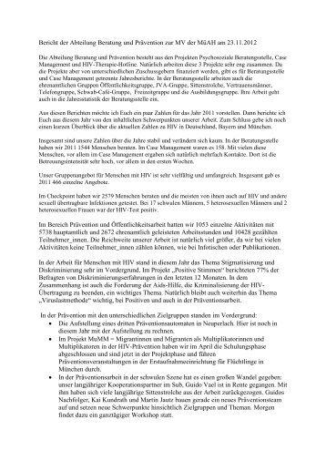 Bericht der Abteilung Beratung und Prävention zur MV der MüAH ...