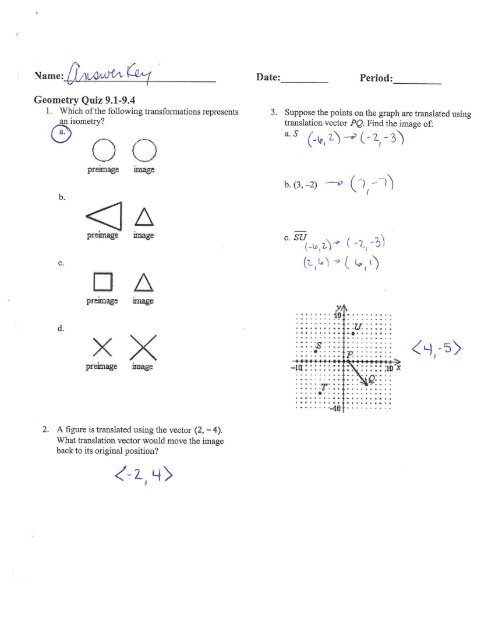 Geometry 9 1-9 4 Quiz Review Answers