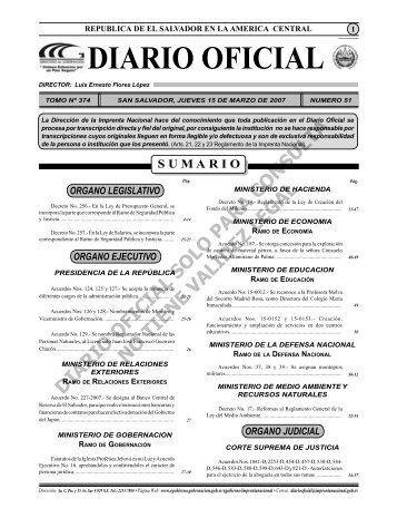 diario 15 marzo.indd - Diario Oficial de la República de El Salvador