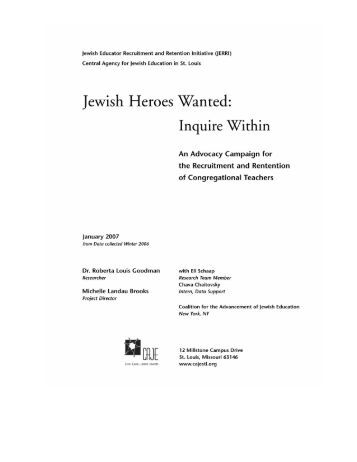 JERRI Final Report - Central Agency for Jewish Education