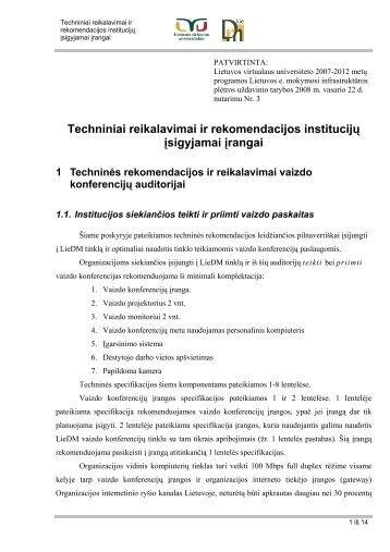 Techniniai reikalavimai ir rekomendacijos institucijų ... - LVU