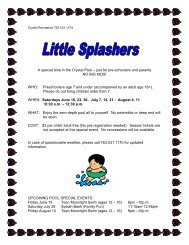 A special time in the Crystal Pool – just for pre-schoolers and ...