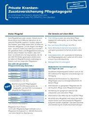 Private Kranken- Zusatzversicherung Pfl egetagegeld