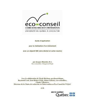 par Jacques Blanchet, B.A. Éco-conseiller, Chargé ... - Recyc-Québec