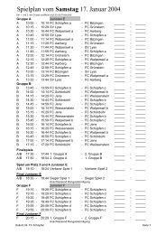 Spielplan vom Samstag 17. Januar 2004 - FC Schüpfen