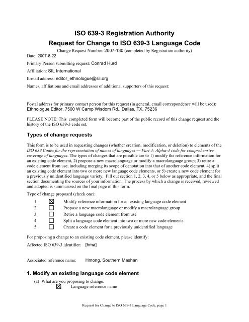 ISO 639-3 Code Split Request t...