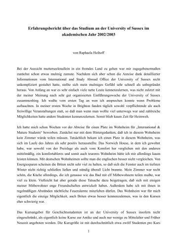 Erfahrungsbericht über das Studium an der University of Sussex im ...