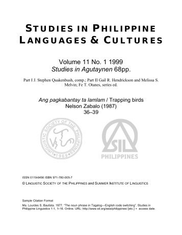 STUDIES IN PHILIPPINE LANGUAGES & CULTURES