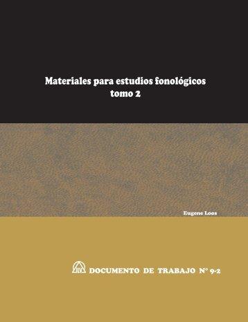 Materiales para estudios fonológicos, tomo 2 - Sil.org