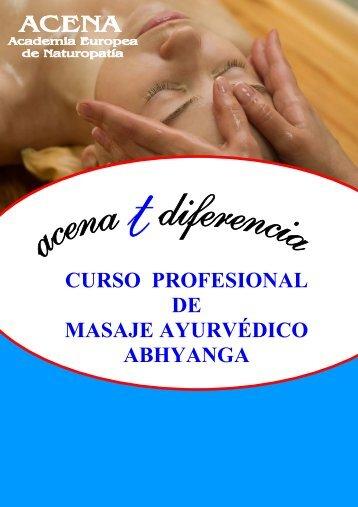 CURSO PROFESIONAL DE MASAJE AYURVÉDICO ABHYANGA