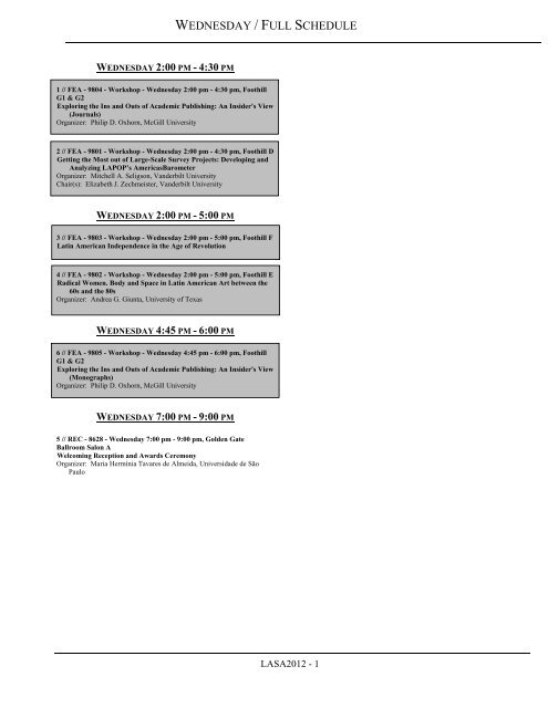 Wednesday Full Schedule Latin American Studies