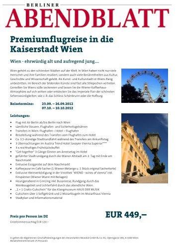 Premiumflugreise in die Kaiserstadt Wien Wien - Leserreisen ...