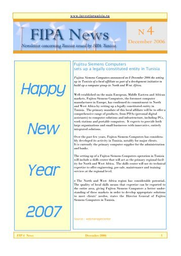 Happy New Year 2007 - Invest in Tunisia, The Foreign Investment ...