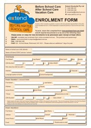 ENROLMENT FORM - Extend, Before and After School Care
