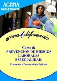 Curso de PREVENCION DE RIESGOS LABORALES ESPECIALIDAD: