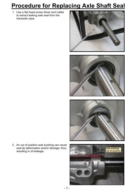 Axle Seal Replacement Procedure T40 K46 K57 Manual Guide