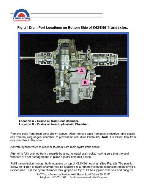 K62 & K66 Oil Changing Procedure - Tuff Torq Parts