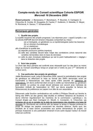 Compte-rendu du Conseil scientifique Cohorte ESPOIR Mercredi 16 ...