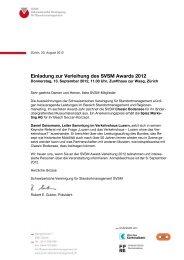 Einladung zur Verleihung des SVSM Awards 2012
