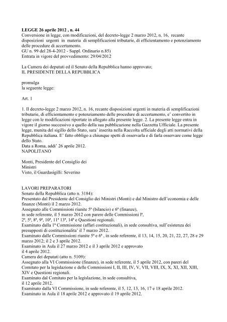 LEGGE COSTITUZIONALE 20 aprile 2012, n. 1