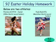 9J Easter Holiday Homework