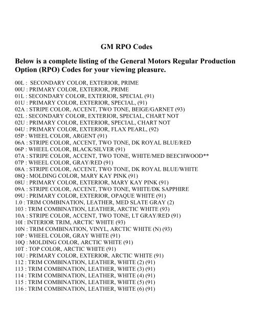 GM RPO Codes Below is a complete listing of the     - Marshu com