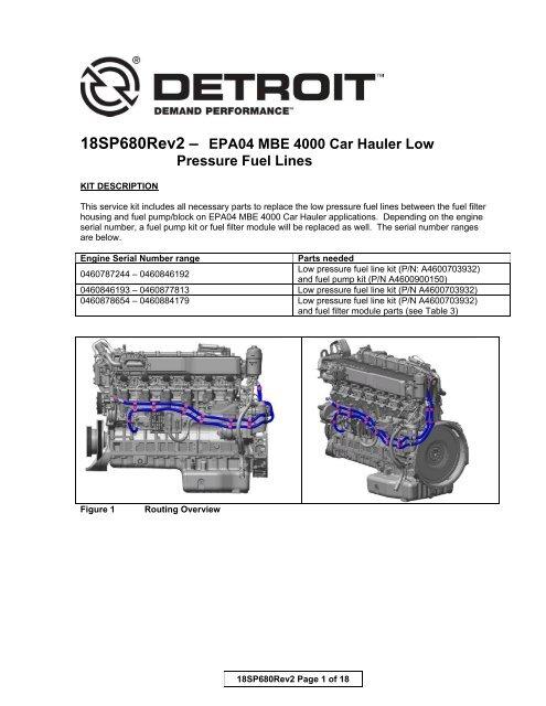 18SP680Rev2 - EPA04 MBE 4000 Car Hauler Low Pressure Fuel