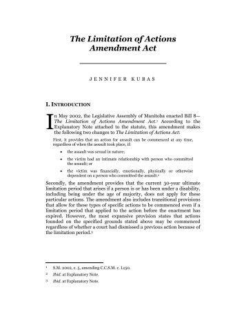 Kubas_Limitations of Actions Act.pdf - Robson Hall Faculty of Law