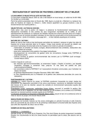 restauration et gestion de frayeres a brochet en lit ... - Natura 2000