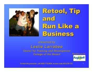 Retool, Tip and Run Like a Business - Augusoft