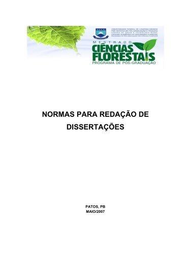 NORMAS PARA REDAÇÃO DE DISSERTAÇÕES - Cstr.ufcg.edu.br