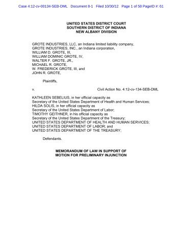 Brief in support of motion for preliminary injunction - Alliance ...