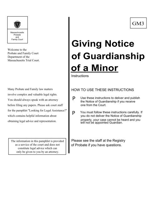 Giving Notice of Guardianship of a Minor - Barnstable County