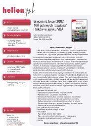 Więcej niż Excel 2007. 166 gotowych rozwiązań i trików ... - Structum