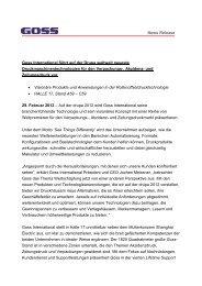News Release Goss International führt auf der Drupa weltweit ...