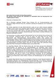 Medienmitteilung der Zehnder Group Schweiz AG - FC Aarau