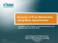 Analysis of Polar Metabolites using Mass Spectrometry - Helsinki.fi