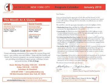 Program Calendar January 2013 - Gilda's Club New York City